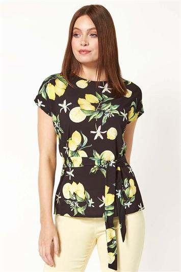 Lemon Print Belt Tie Top