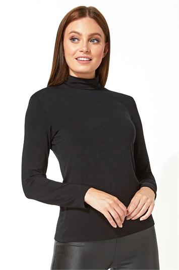 Polo Neck Long Sleeve Top