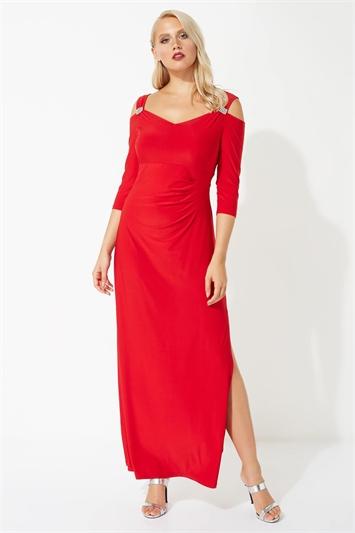 Cold Shoulder Diamante Maxi Dress