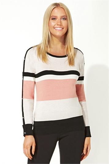 Pink Colour Block Striped Jumper
