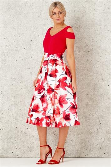 Floral Print Cold Shoulder Midi Dress
