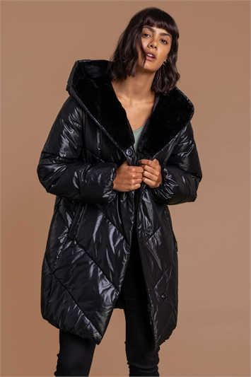 Black Hooded Long Quilted Coat