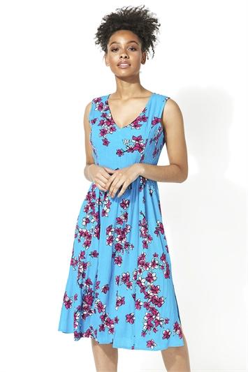 Crinkle Floral Print Midi Dress