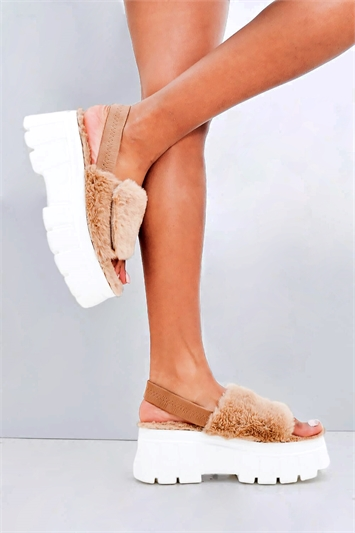 Chunky Faux Fur Strap Platform Sandals