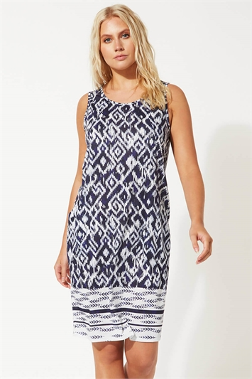 Abstract Border Print Jersey Shift Dress