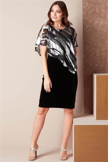 Foil Print Chiffon Overlay Dress