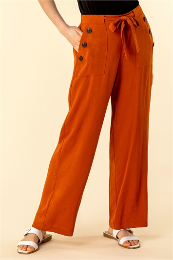 Button Detail Wide Leg Trouser