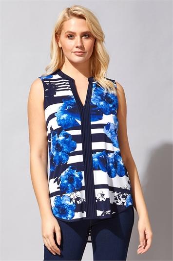 Contrast Stripe Floral Vest Top