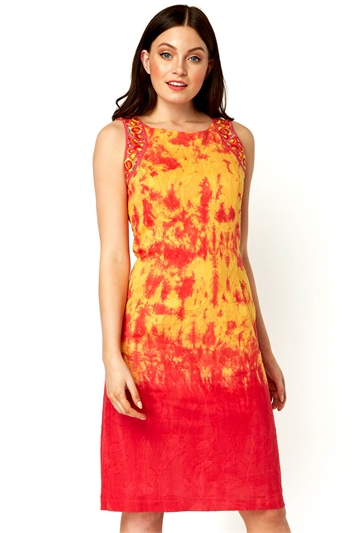 Embroidered Tie Dye Shift Dress