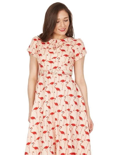 Clarissa Flamingo Print Swing Dress