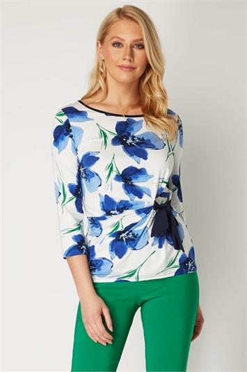Floral Print Side Tie Top