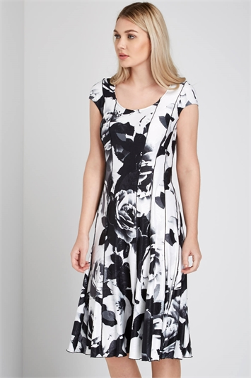 Monochrome Floral Print Panel Dress