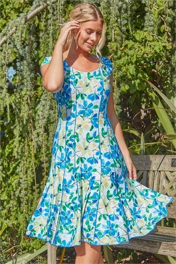 Floral Garden Print Panel Dress