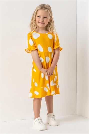 Amber Girls Spot Print Fluted Hem Dress