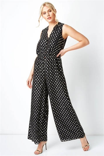 Polka Dot Button Detail Jumpsuit