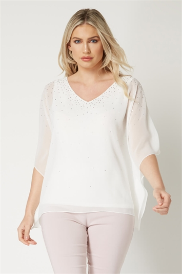 V-Neck Pearl Chiffon Top