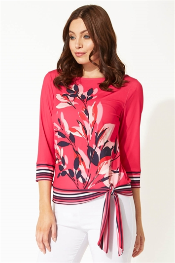 Fuchsia Floral Contrast Tie Detail Top, Image 1 of 8
