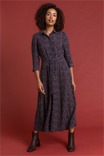 Navy Ditsy Spot Belted Shirt Dress, Image 1 of 4