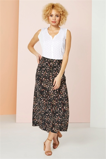 Floral Print Button Through Midi Skirt