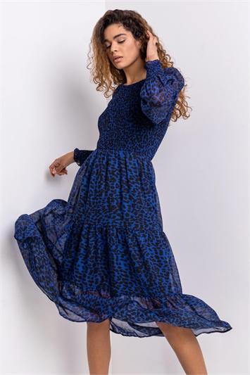 Fluorescent Blue Animal Print Shirred Bodice Dress
