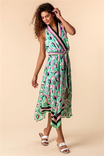 Green Abstract Print Asymmetric Midi Dress