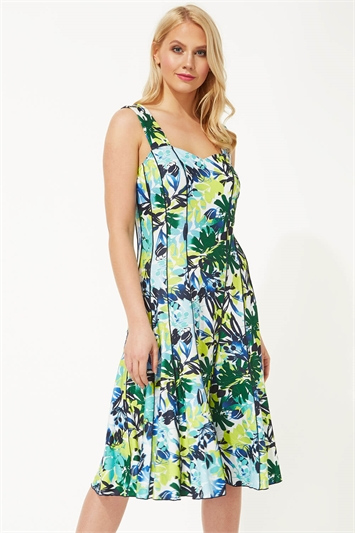 Abstract Leaf Panel Dress