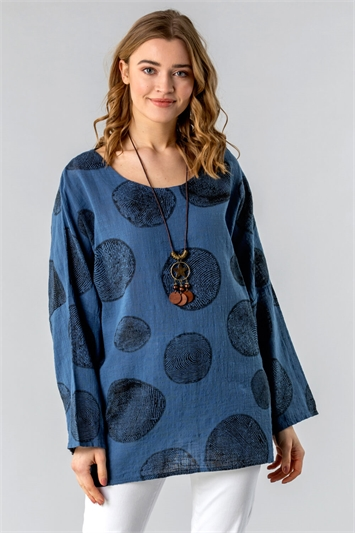 Spot Print Top with Necklace