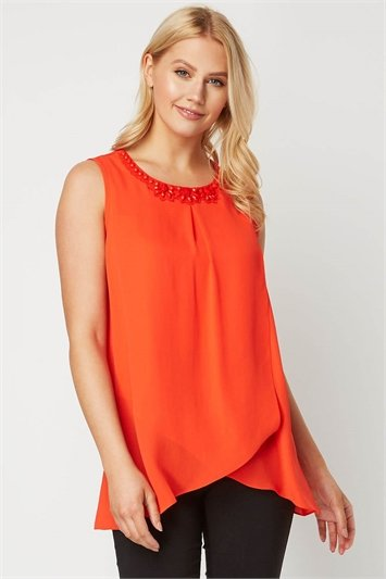 Bead Embellished Round Neck Top