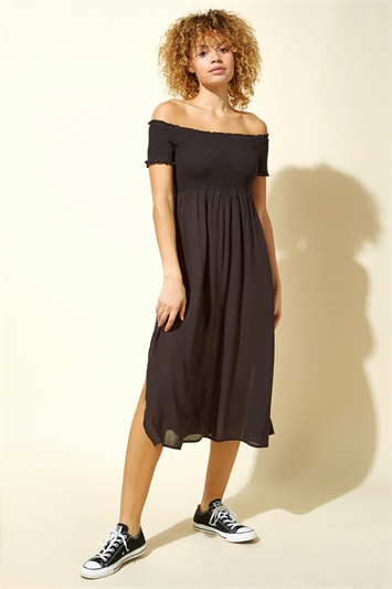 Shirred Bust Midi Beach Dress