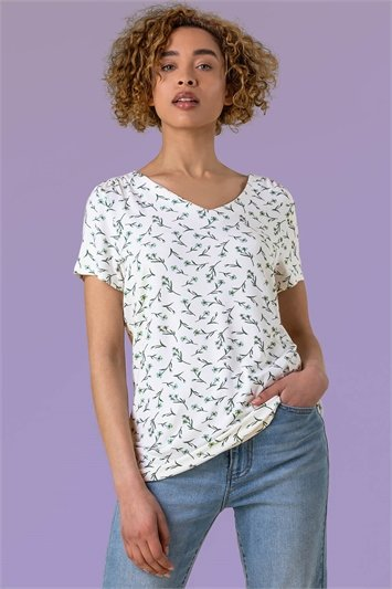 Ivory Floral Print V-Neck T-Shirt
