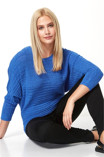 Ribbed Tape Yarn Batwing Jumper