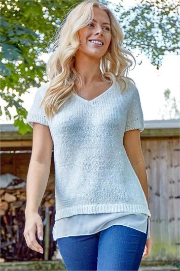 Chiffon Hem Knit T-Shirt
