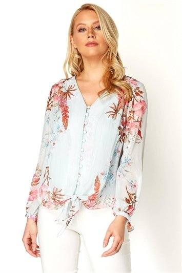 Floral Tie Front Button Blouse