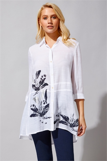 Floral Border Print Shirt