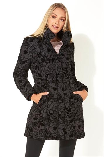Longline Flocked Padded Coat