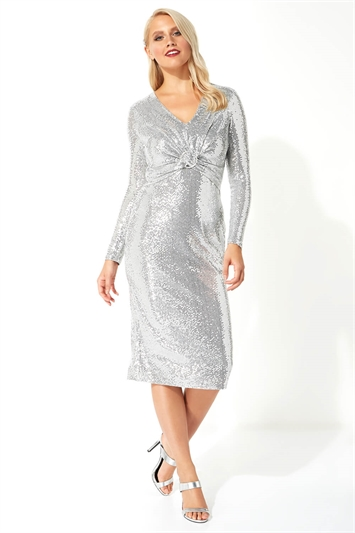 Sparkle Twist Front Midi Dress
