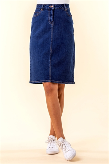 A Line Knee Length Denim Skirt
