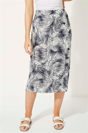 Tropical Palm Print Mock Button Pencil Skirt