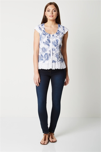Floral Crinkle Blouse