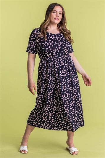 Curve Ditsy Floral Print Midi Dress