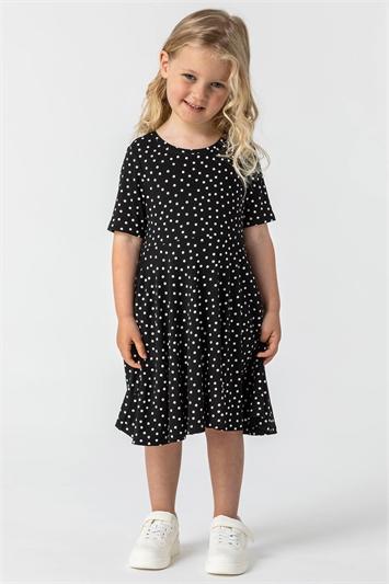 Black Girls Polka Dot Skater Dress