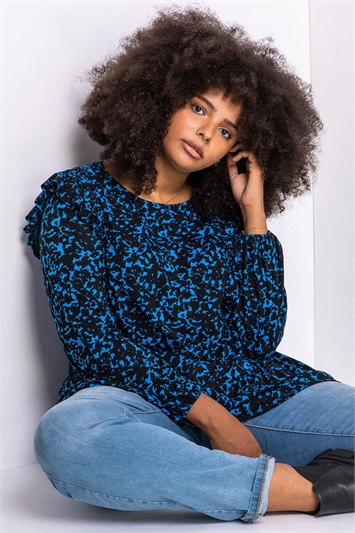 Royal Blue Curve Abstract Animal Frill Detail Tunic