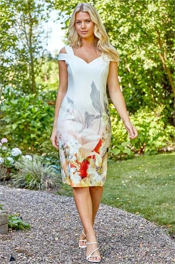 Floral Cold Shoulder Scuba Dress