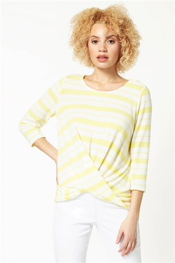 Abstract Stripe Twist Front Top