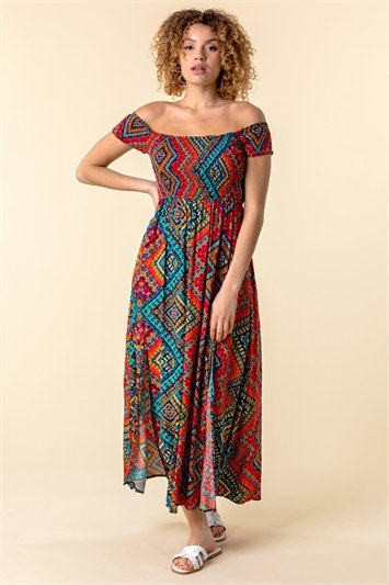 Shirred Aztec Print Bardot Dress