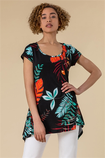 Tropical Print Hanky Hem T-Shirt