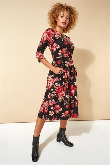 Floral Print Pocket Detail Midi Dress