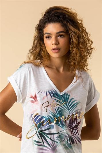 Ivory Tropical Foil Print T-Shirt