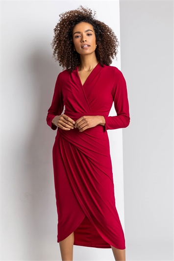 Wine Fitted Jersey Wrap Dress, Image 1 of 5