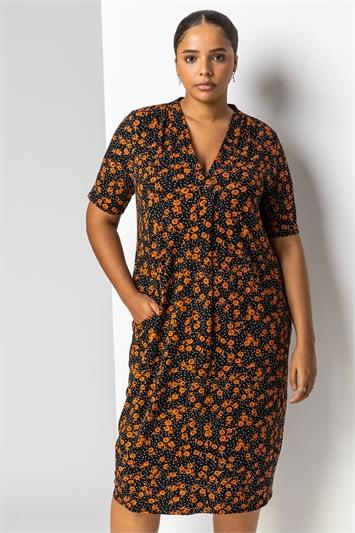 Rust Curve Ditsy Floral Print Pocket Dress